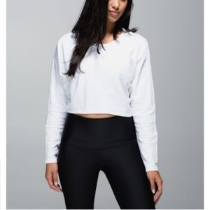Lululemon Oh Hey Crop Pullover Sweatshirt White 6